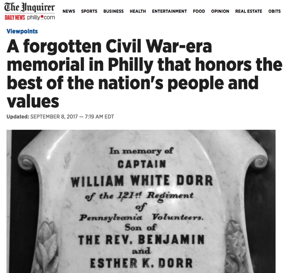 Click here to read Bill's op-ed in the Philadelphia Inquirer (Sept. 8, 2017) on our national debate about Civil War memorials.