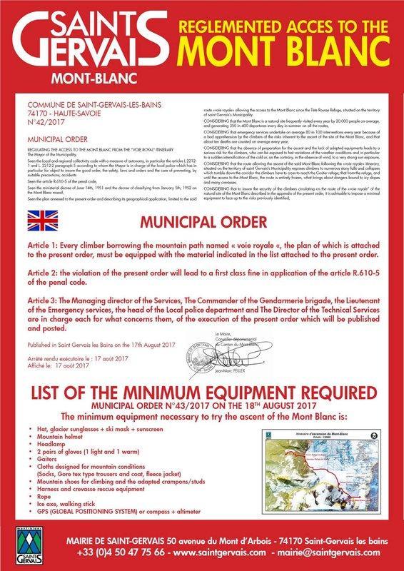 Aviso da prefeitura de Saint Gervais sobre a obrigação de ter equipamentos mínimos para escalar o Mont Blanc