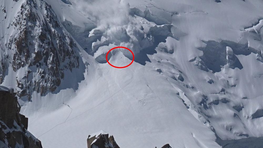 Avalanche no começo da subida ao Tacul (via Col du Midi)