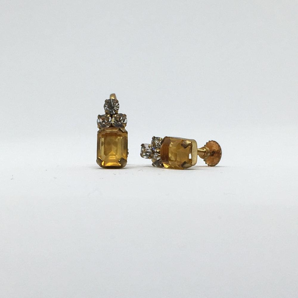 SOLD Yellow Diamante Earrings (screw fastening)£12.00