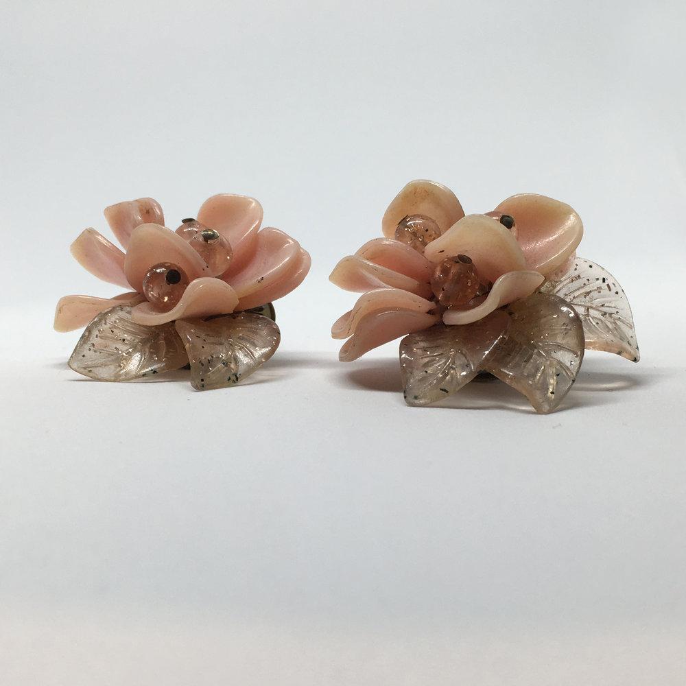 Pink Glass Flower Earrings (clip fastening) £20.00