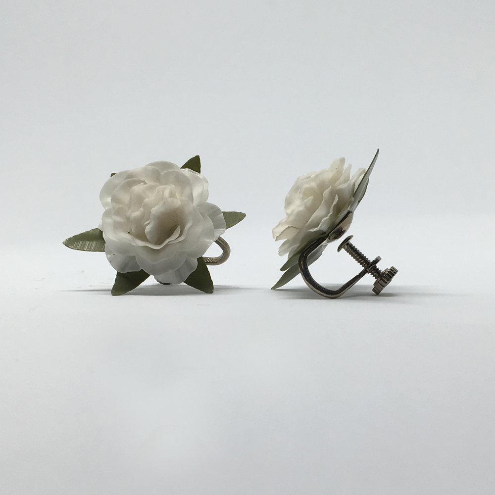 White Rose Earrings (screw fastening) £9.00
