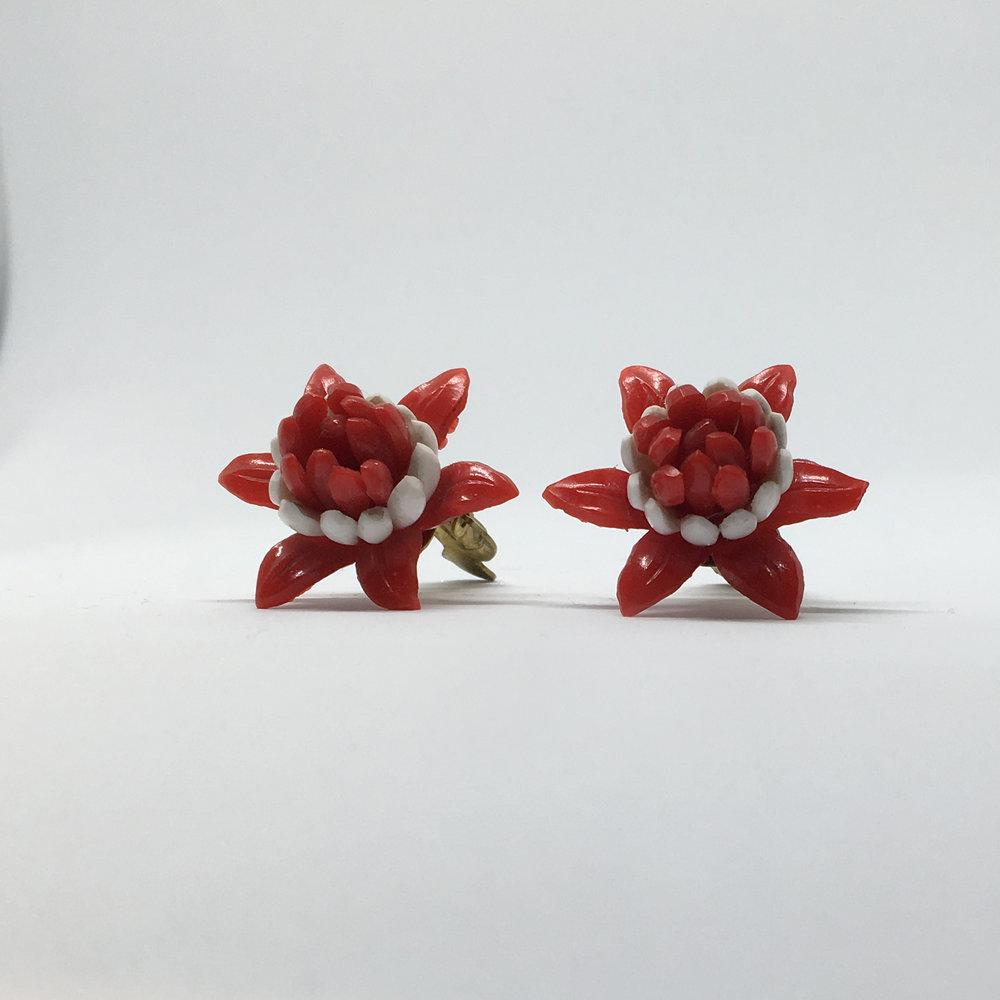 Red Flower Earrings (clip fastening) £9.00