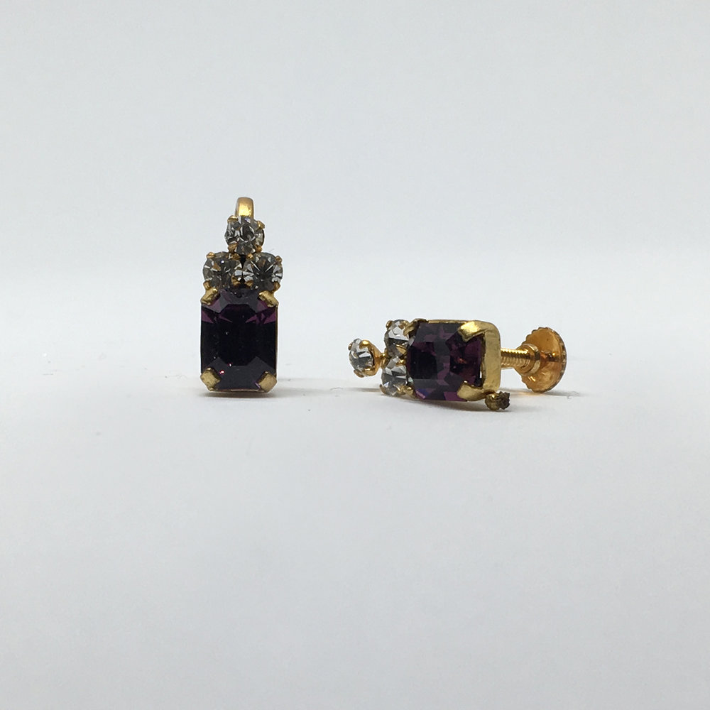 SOLD Violet Diamante Earrings  (screw fastening) £12.00