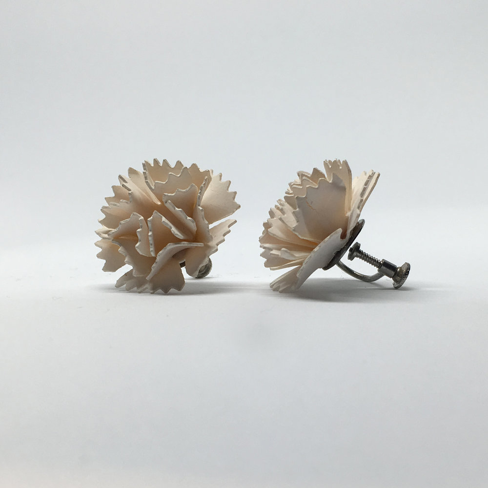 Pale Pink Carnation Earrings (screw fastening) £15.00