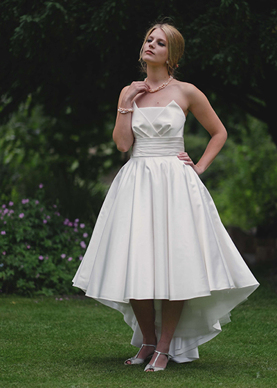 Primrose  - Italian silk drop backed strapless dress, surplice outer and straight inner neckline