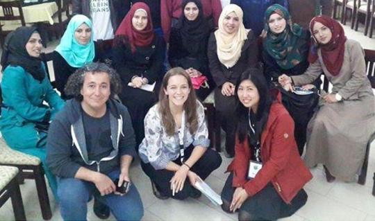 UNRWA_college_students_visit_gaza_challenge_2015_international_mentors_fadi_bishara_lauren_peate_angie_chang