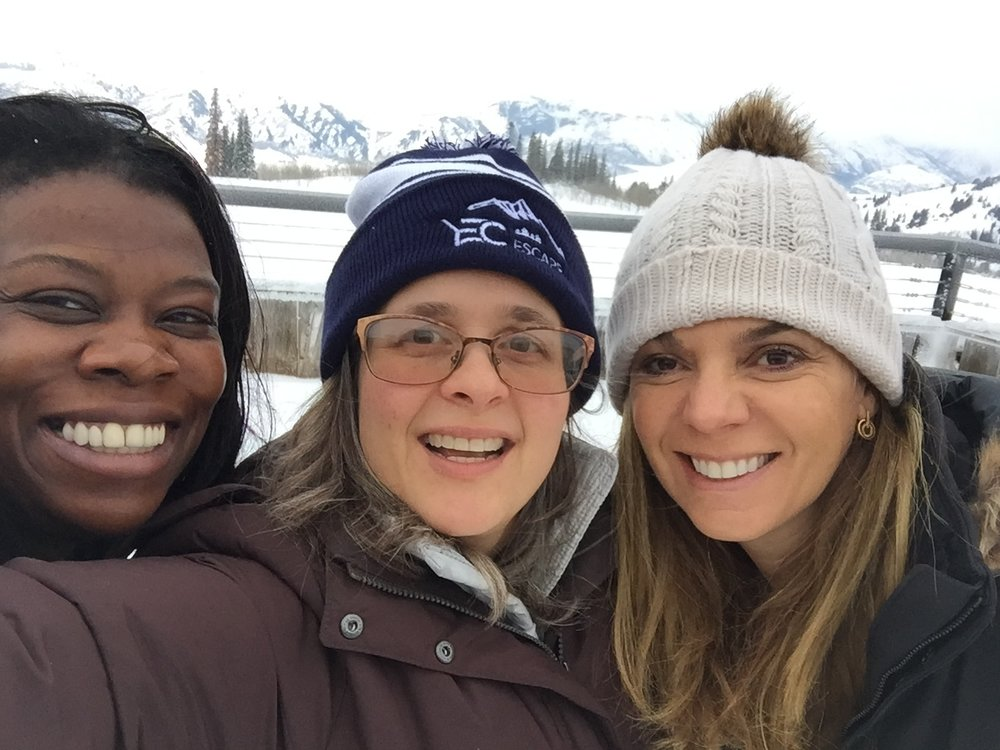 Laura Mignott, Elisa Miller-Out and Melinda Nicci grab a selfie on the ski slopes.
