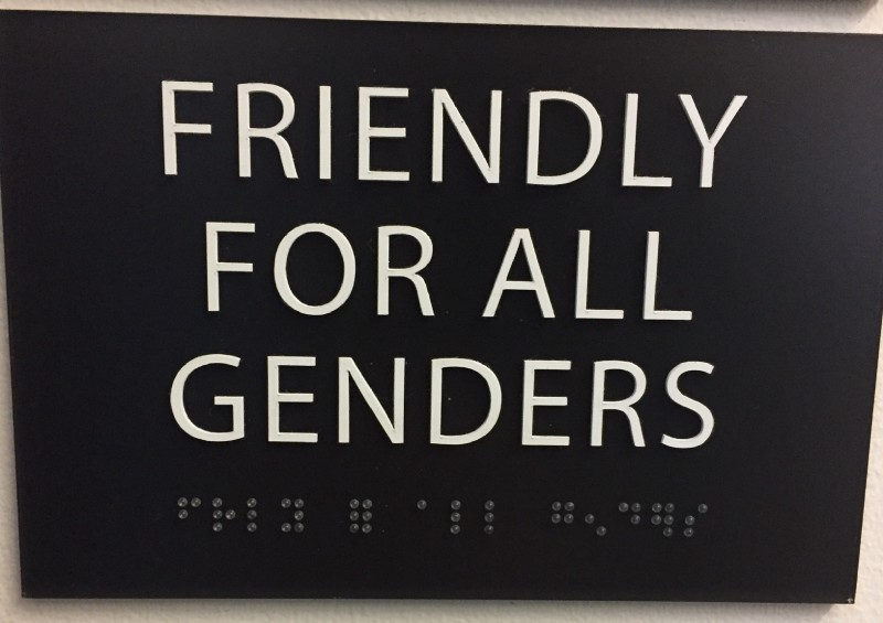 Restroom signage at the 500 offices in SF and Mountain View