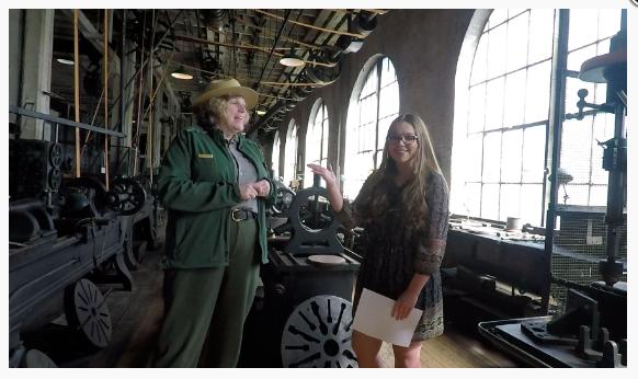 Emily interviewing Karen Sloat Olsen, a park ranger at the Thomas Edison National Historical Park.