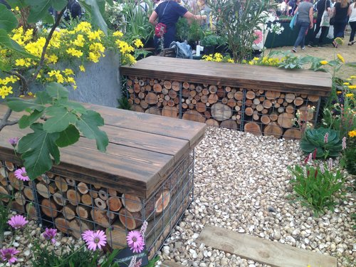 garden seating. We Make And Supply Rustic Garden Seating, Made From Gabion, Filled With Logs Topped A Wood Finish Of Your Choice. Seating