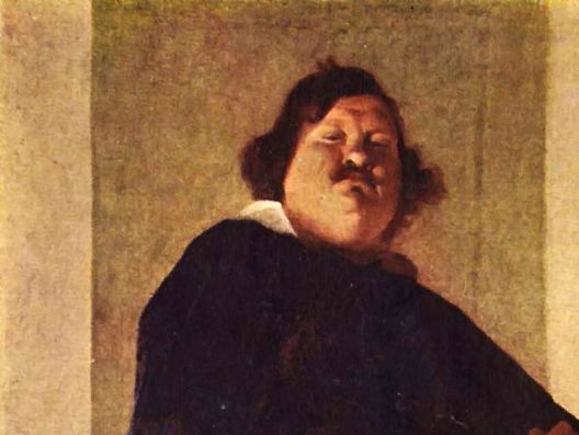 Detail of the Portrait of a Fat Gentleman by the artist Bernardi Strozzi showing the absence of a jawline, chin or neck definition.