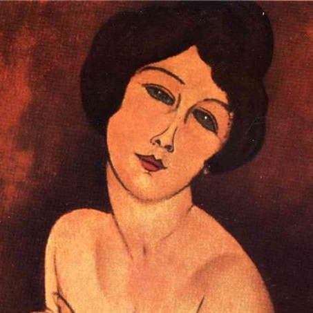 Detail of oil on canvas, Hebuterne by Modigliani, 1918.