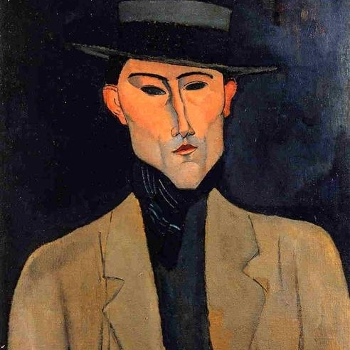 Portrait of a man with a hat, Modigliani, 1915.