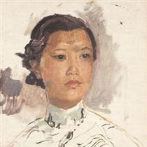 Portrait of a Chinese woman by John Augustus with a squarish jawline and wide lower face - unlike a slimmer European face.