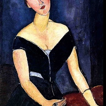 Modigliani's work is known for exaggerated elegant impossibly long necks & sculpted chins - forming a V shaped lower face.