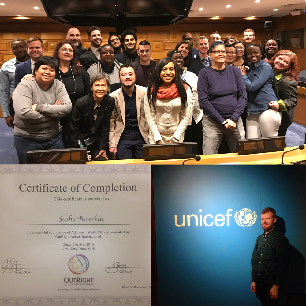"Aleksander Berezkin, the Director of the Association of Russian Speaking Intersex people (ARSI), participated at the Advocacy week in New York (December 3-10th, 2016). It was organized by the International OutRight Action. The delegation of activists took part in meetings with representatives of UNICEF, ""UN Women"", ""LGBT Core Group"", Office of the UN High Commissioner for Human Rights (OHCHR), the program ""Free and Equal""."