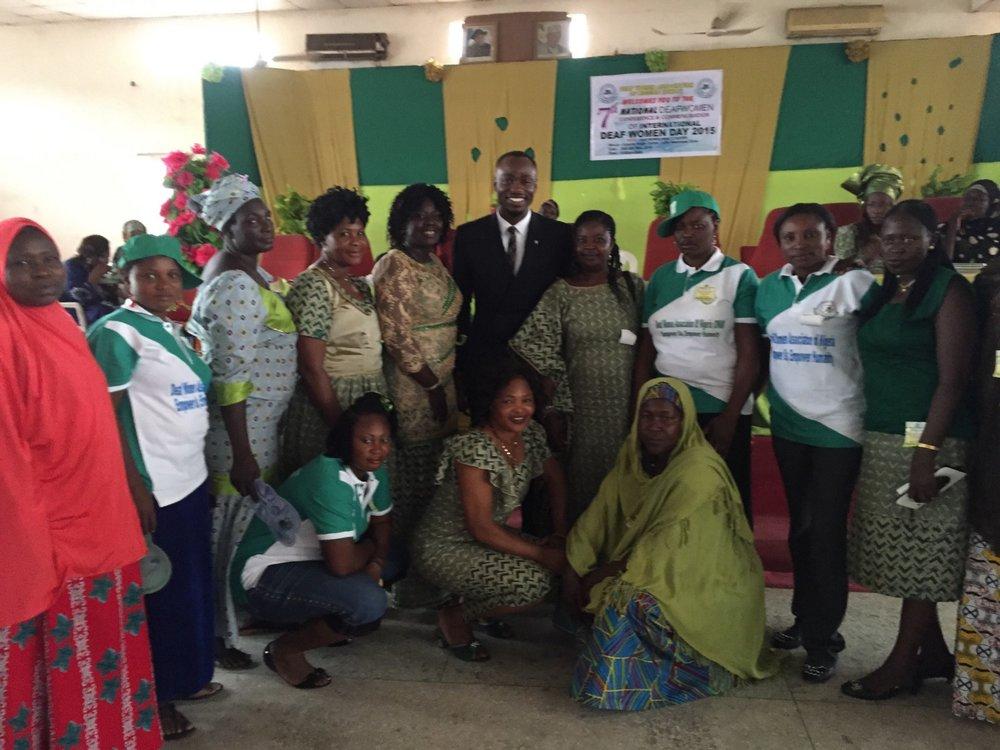 Officials of the National Deaf Women Association after honoring Jake Effoduh as the First Male Deaf Women Ambassador
