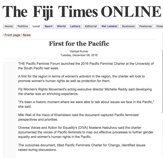 Fiji Times Online 6th December 2016