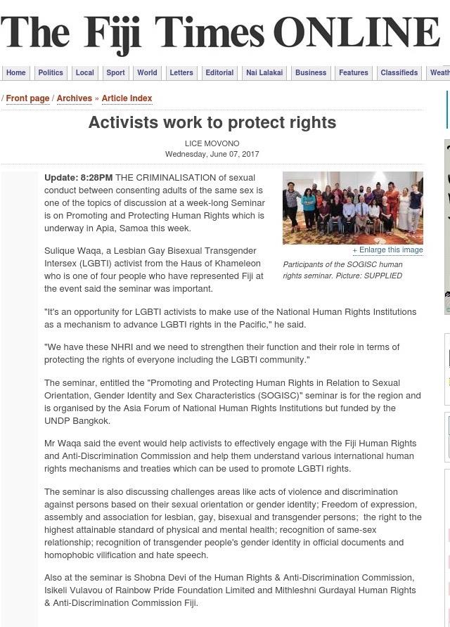 Fiji Times Online: June 07, 2017