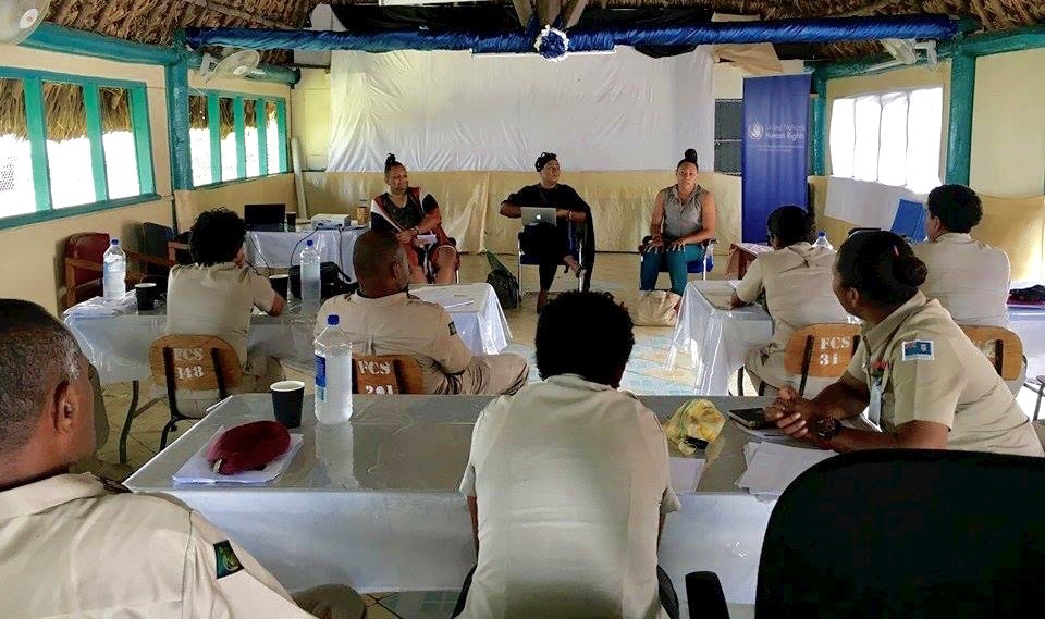 """Haus of Khameleon leading a Talanoa session on """"LGBT Persons in Detention with Prison Officials at the Korovou Prison Complex."""