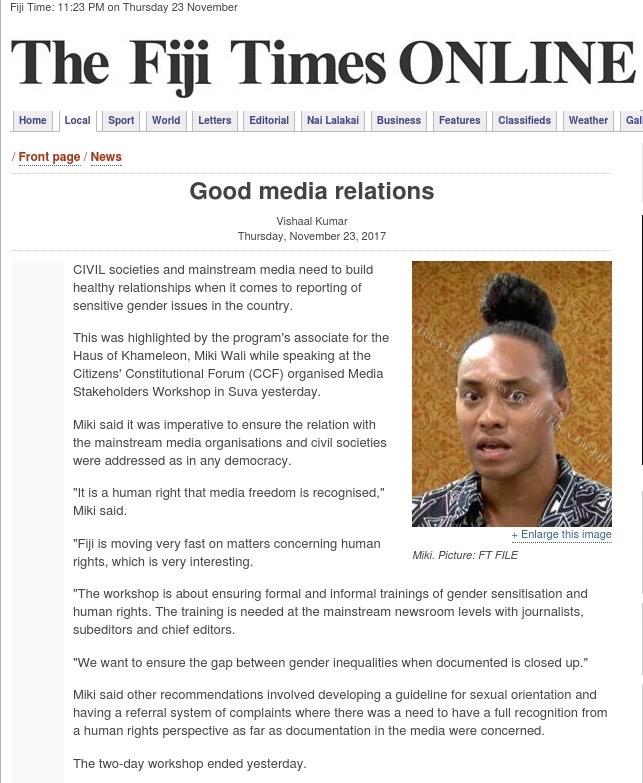Fiji Times, November 23rd, 2017.