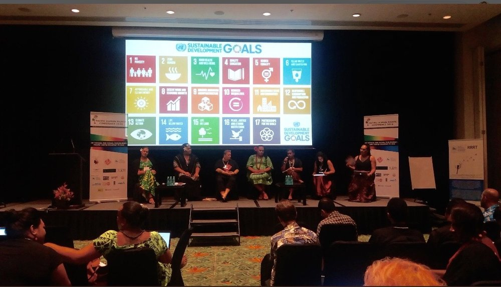 Plenary 2: Leave No One Behind: The SDGs and Interlinkages with LGBTQI Rights and SOGIESC. The Pacific LGBTQI Roadmap to 2030. Moderated by  @ SuliqueWaqa   of  @ HKhameleon   at the 2nd Pacific Human Rights Conference, Sofitel Resort & Spa - Nadi, FIJI