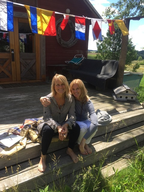 "Katherine with JOanne Barrett, ""In Process"" Collaborative Retreat  Primrose Studio, Madison, WI, June 2017"