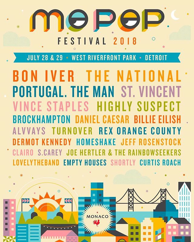 Don't miss Monaco and a killer line-up at MO POP Festival next weekend! #drinkmonaco @mopopfestival