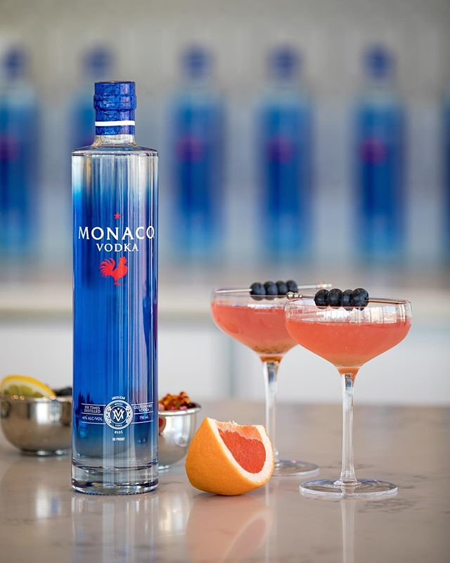 💭🏖Dreaming of a vacation? Stir up a French Riviera cocktail with Monaco Vodka. #drinkmonaco  French Riviera Cocktail:  Muddle 1/4 cup blueberries. Add 2 oz Monaco Vodka, 2 oz grapefruit juice, and 1 oz elderflower liquor.  Stir with ice and strain into glass.  Garnish with blueberries.  Drink Responsibly. Drink Monaco.