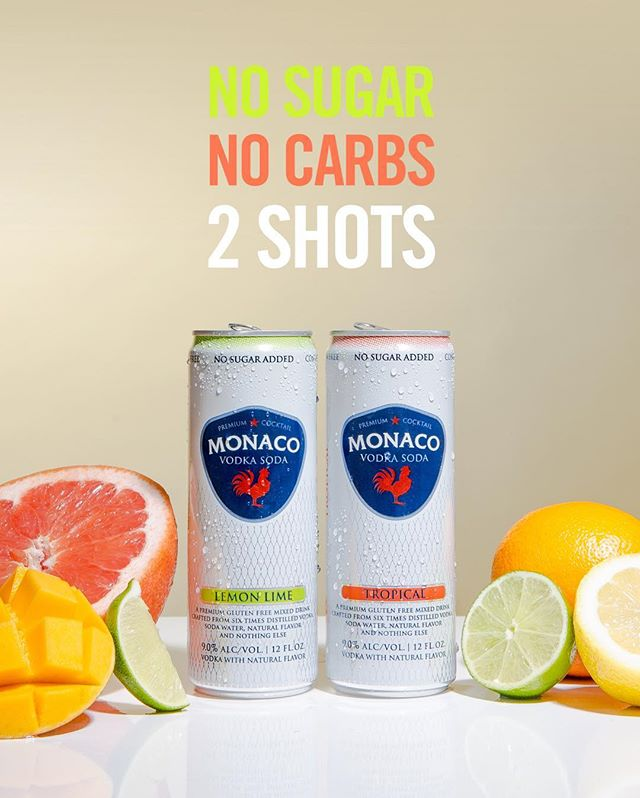 Ready to trade up from hard seltzer?  Introducing ✨MONACO VODKA SODAS✨ NO sugar, NO carbs, just vodka, soda water, natural flavor and NOTHING else! Two refreshing flavors, 🍊Tropical & Lemon-Lime 🍋 with 2 shots in every can. Gluten free & malt free. #drinkmonaco #drinkresponsibly