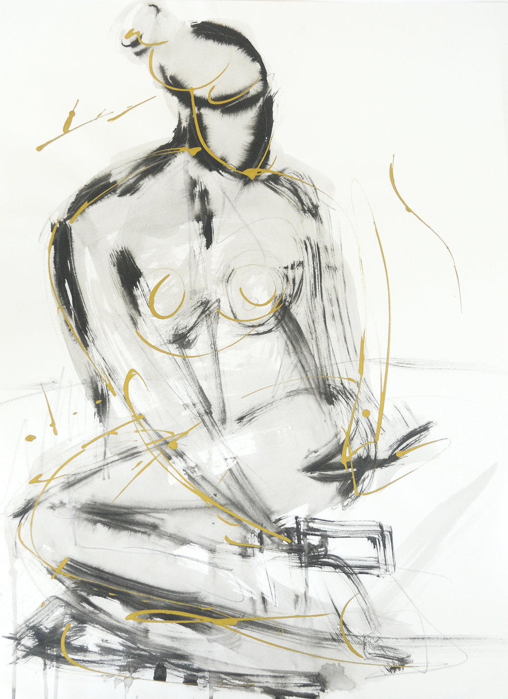Figure In Black & Gold |  Ink & Gold Acrylic on Paper | 18 x 24""