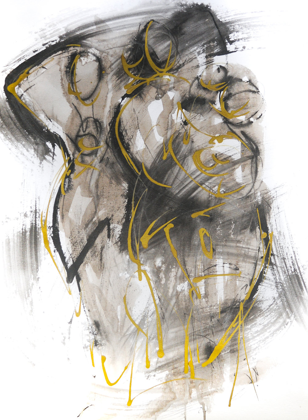 Figures in Black & Gold IV | Ink & Gold Acrylic | 18 x 24""