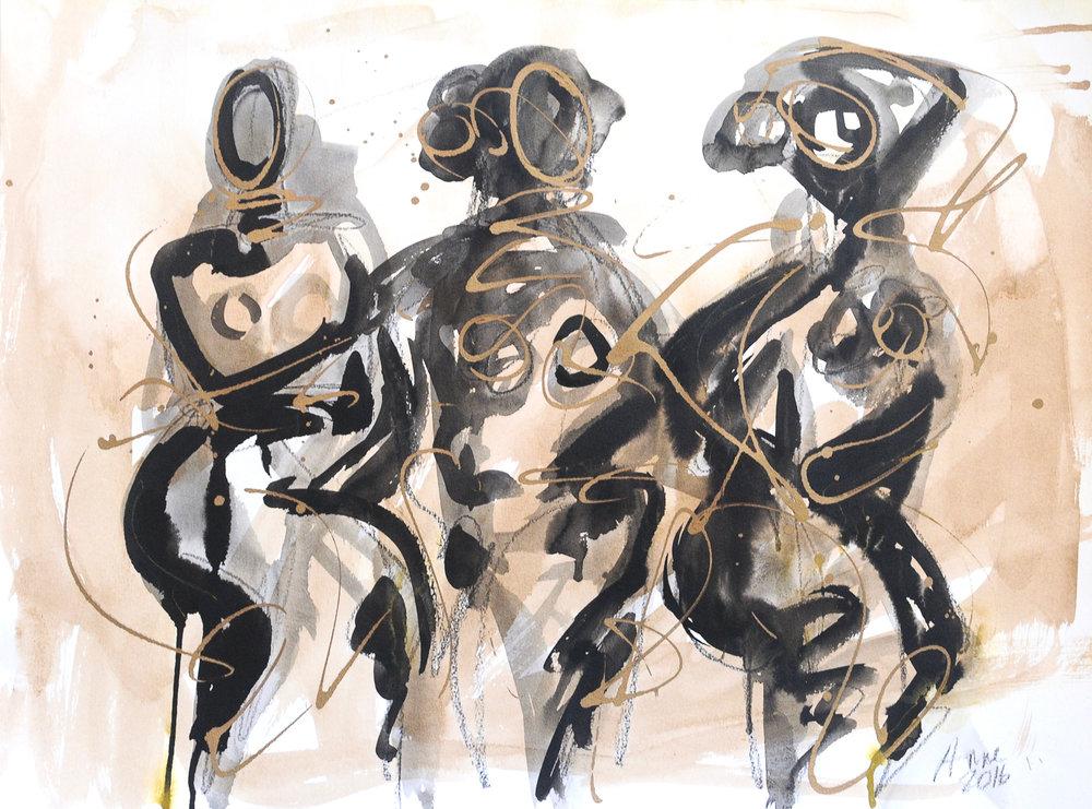 "Figure Three in Walnut Ink | Walnut & India Ink with Gold Acrylic | 18 x 24"""