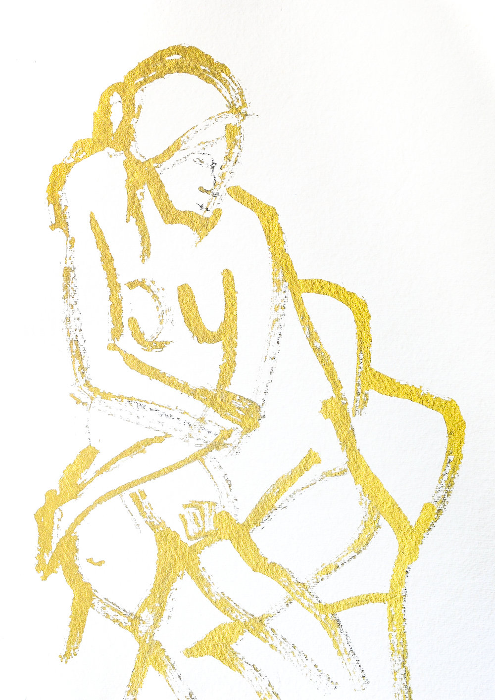 Seated Figure in Gold | Gold Acrylic | 18 x 24""
