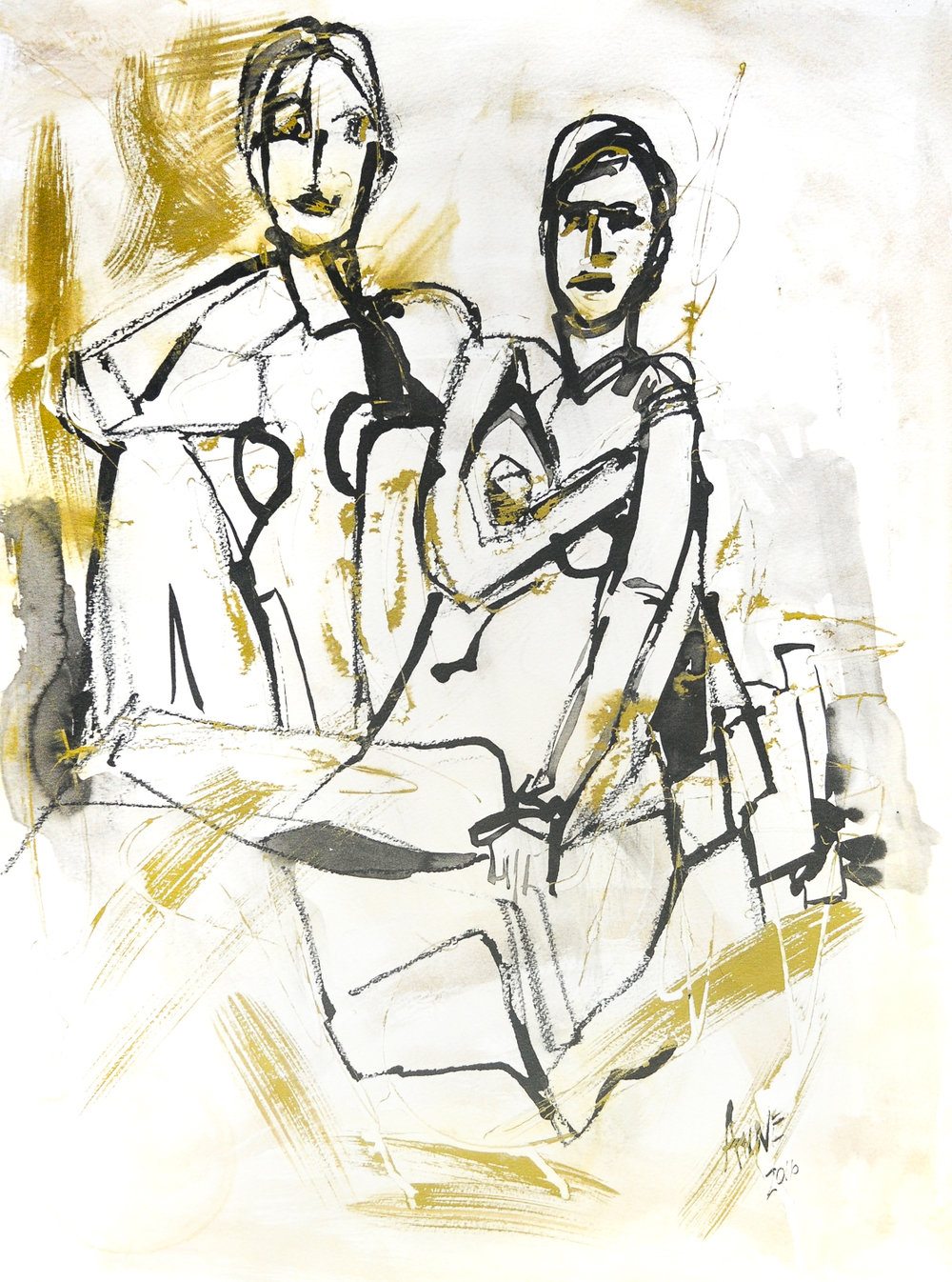 Seated Figures in Ink & Gold | Ink & Gold Acrylic on Paper | 18 x 24""