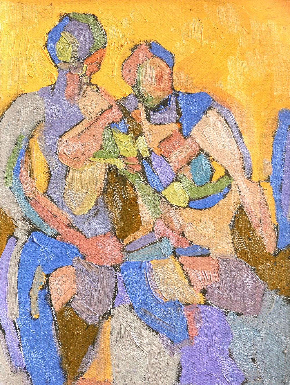 Figures in Orange | Oil on Canvas | 11 x 14""