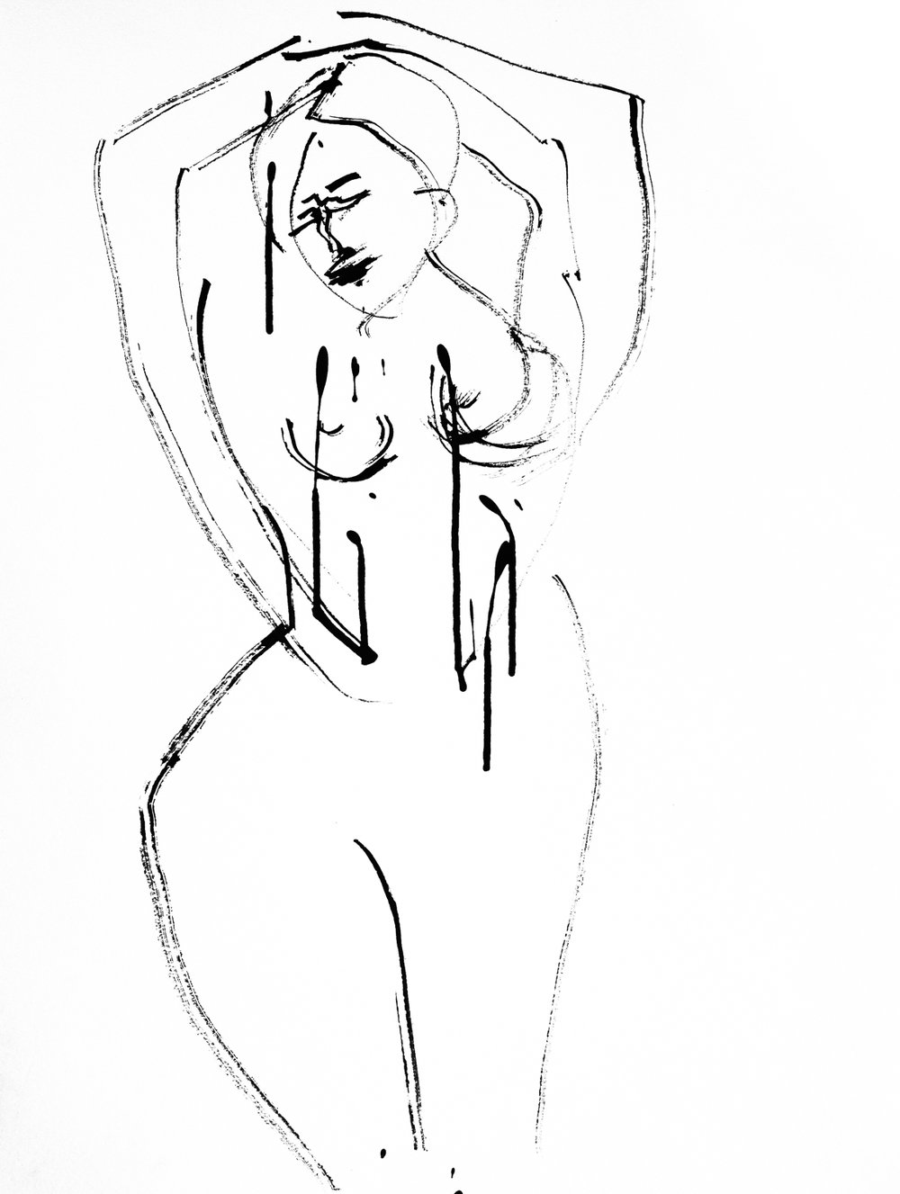 """Arms Up Figure   Ink on Watercolor Paper   18x24"""""""
