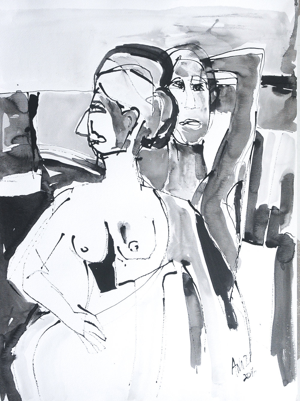 """A Movement of Figures   Ink on Paper   18x24"""""""