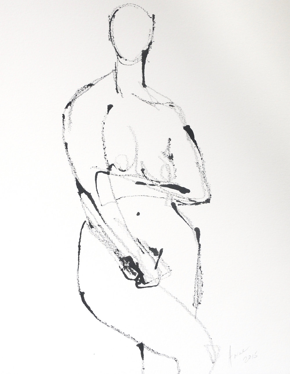 """Figure in Ink   Ink on Paper   18x24"""""""