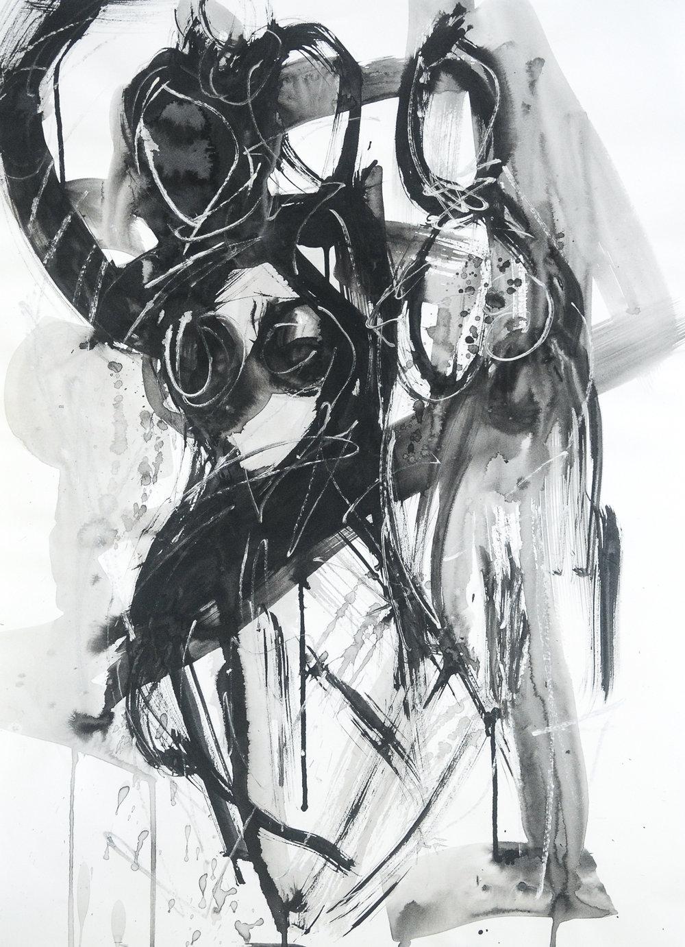 """Figures in Black   Ink & Paper   18x24"""""""