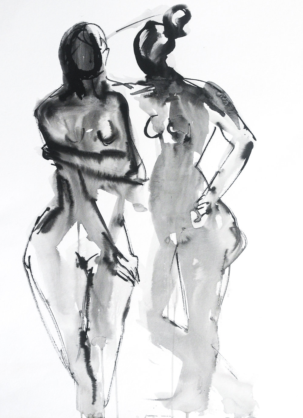"Figures in Black   Ink on Watercolor Paper   18x24"""