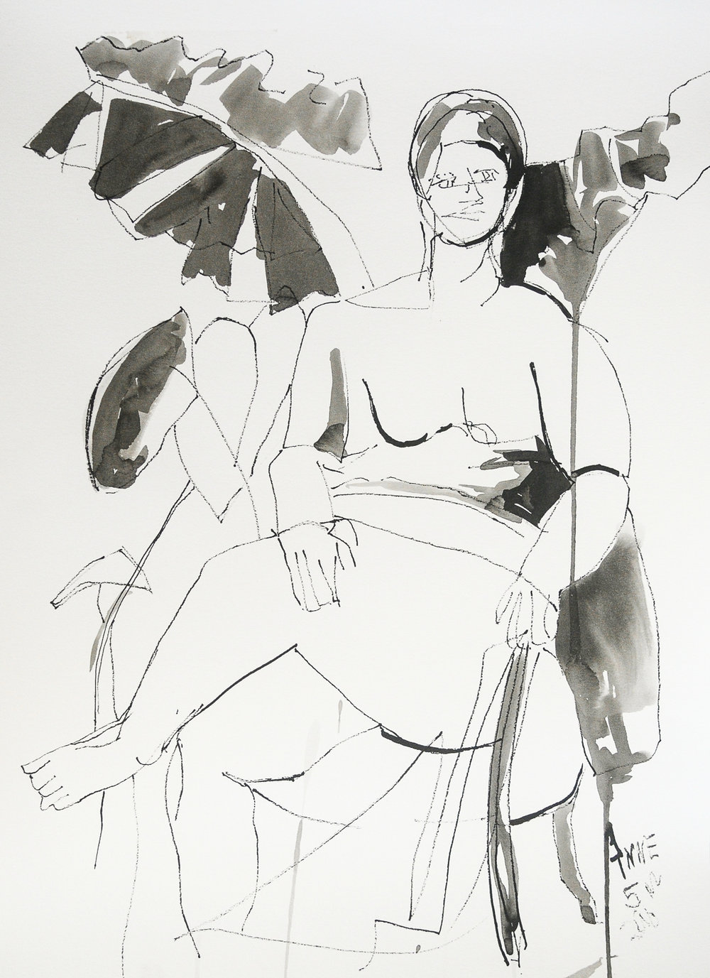 """Seated Figure   Ink on Paper   18x24"""""""