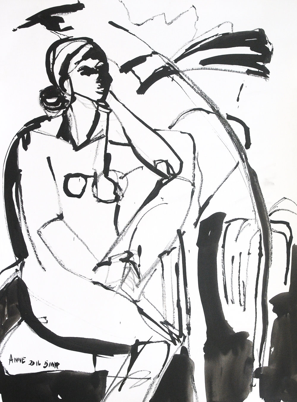 """Seated Figure   Ink on Paper   18 x 24"""""""
