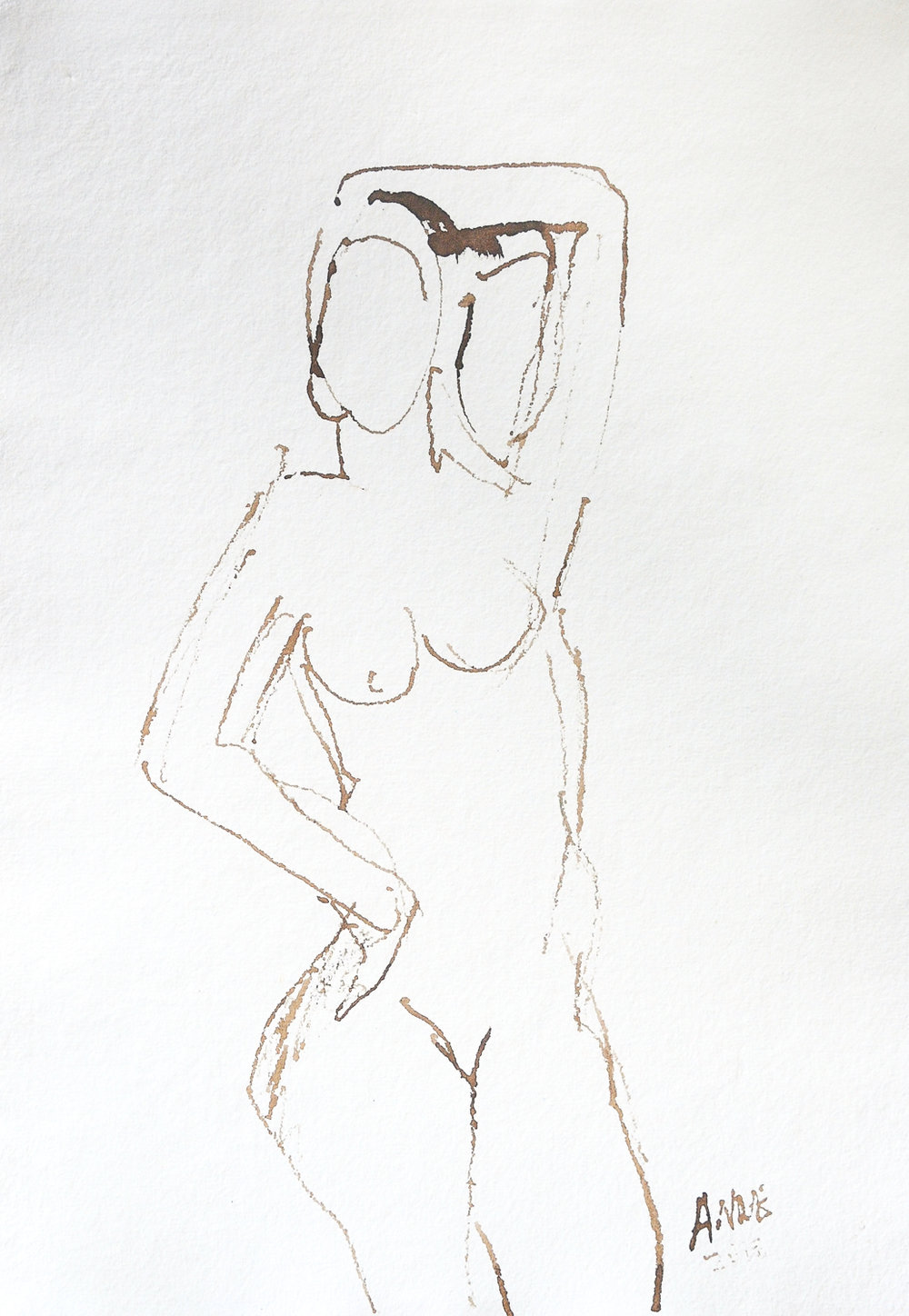 """Untitled Figure   Ink on Paper   18x24"""""""