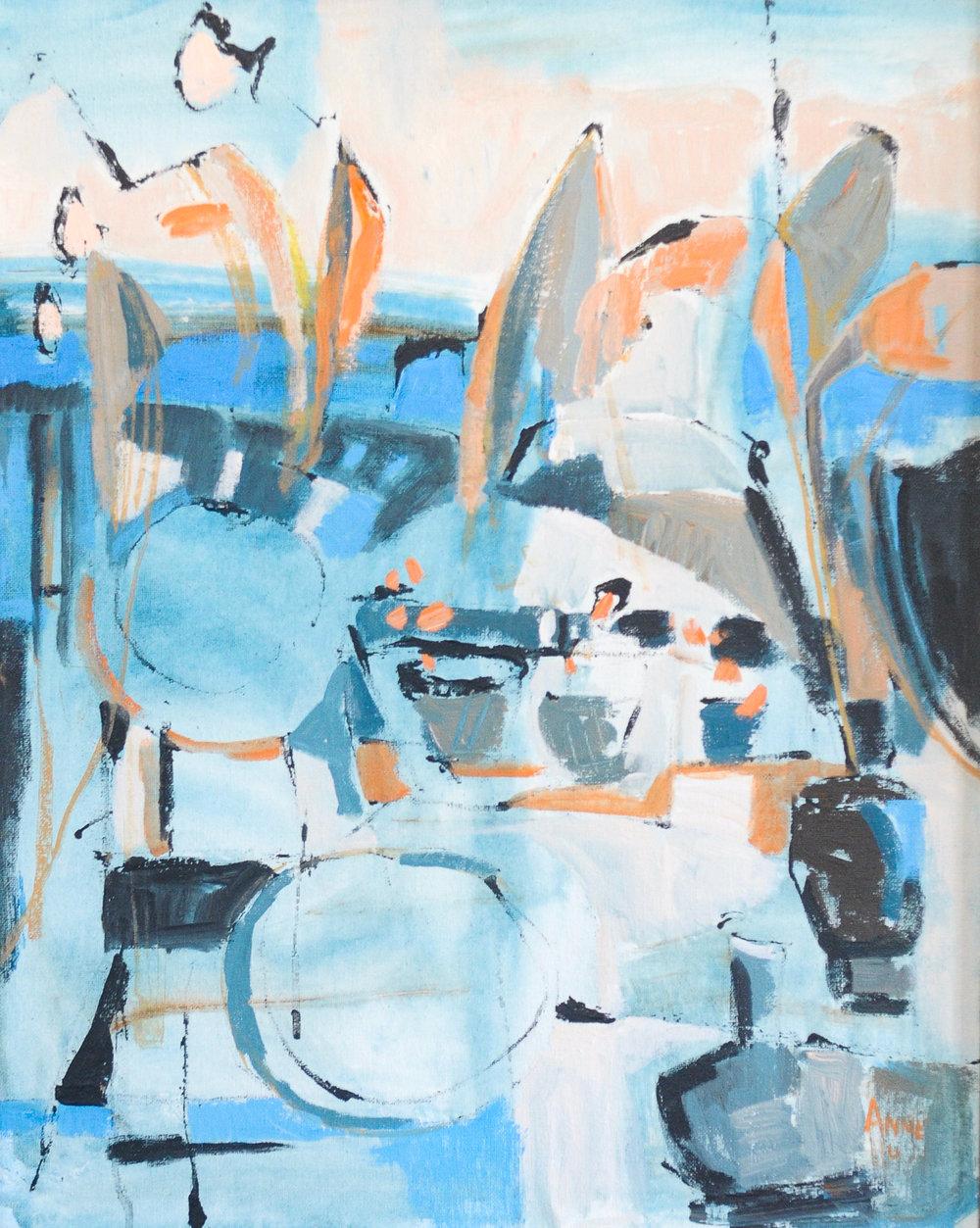 "Blue Abstract   Acrylic on Canvas    18x24"""