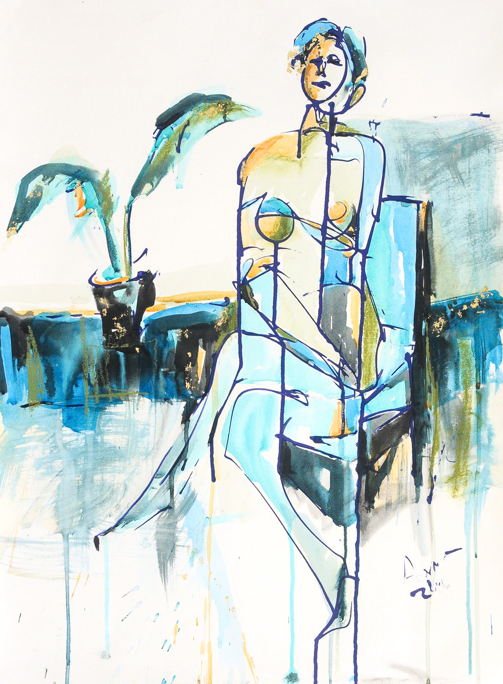 Figure in Blue IV | Watercolor, Acrylic & Ink on Watercolor Paper | 18 x 24""