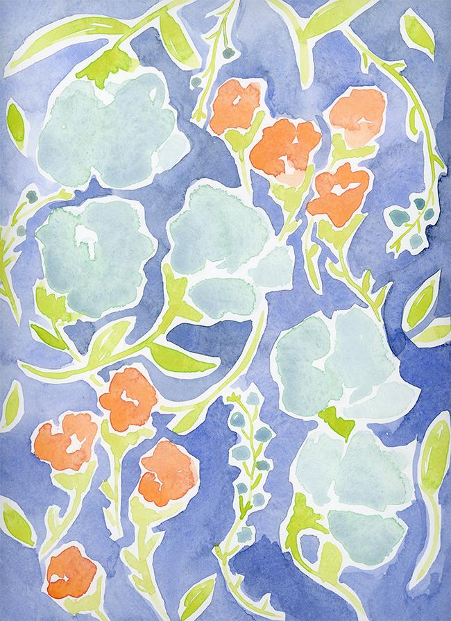 """flower crown"" - watercolor on paper, 9"" x 12"""