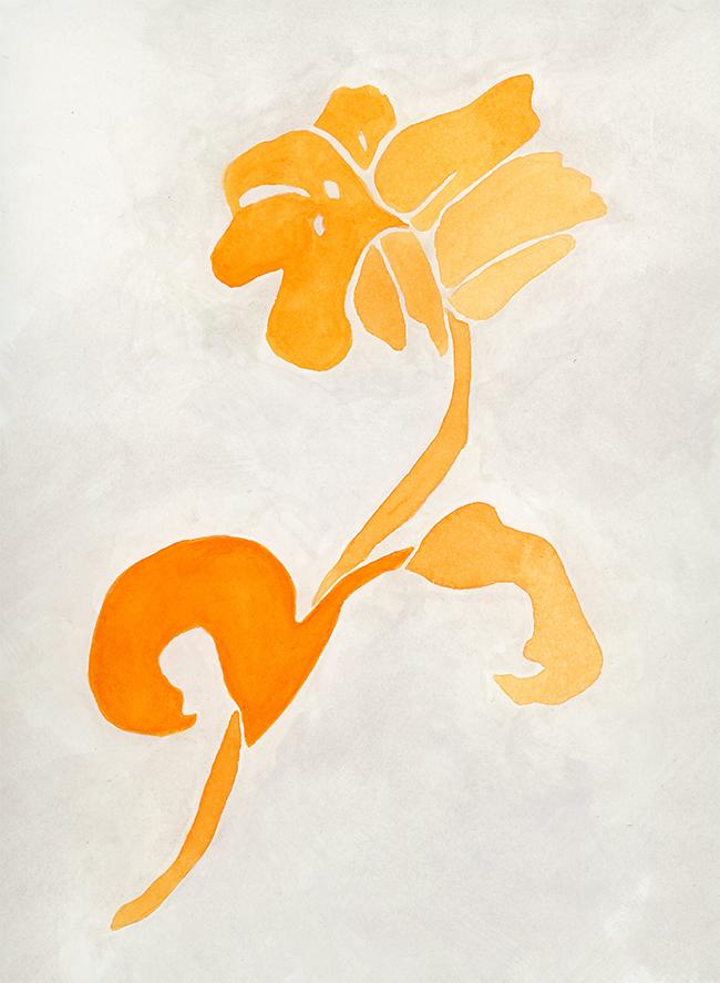 """""""orange blossom"""" - watercolor on paper, 8"""" x 10"""""""