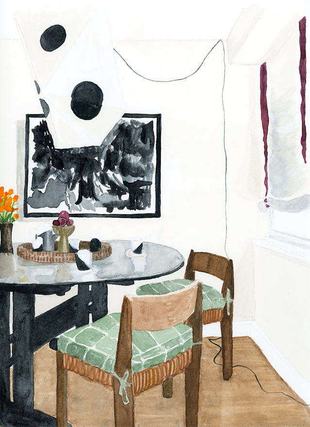 "interior illustration of Zak Profera's dining room, as photographed in Domino Magazine - watercolor on paper, 8"" x 10"""